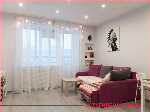 Спальное и обеденное место в маленькой квартире после перепланировки