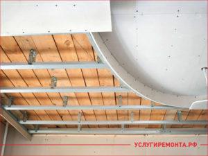 Металлопрофиль на потолке для крепления гипсокартона